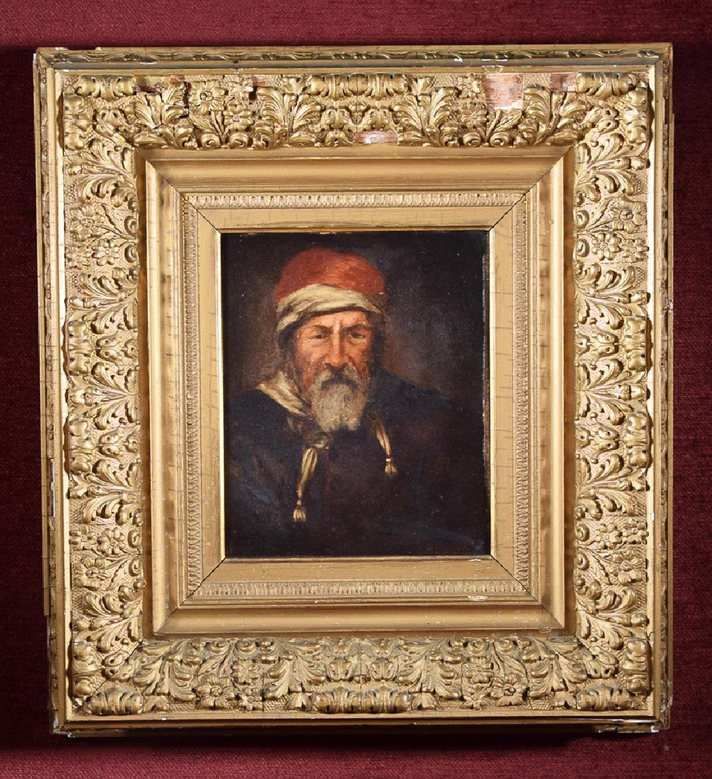 Old Master oil on panel of a man with scarf and