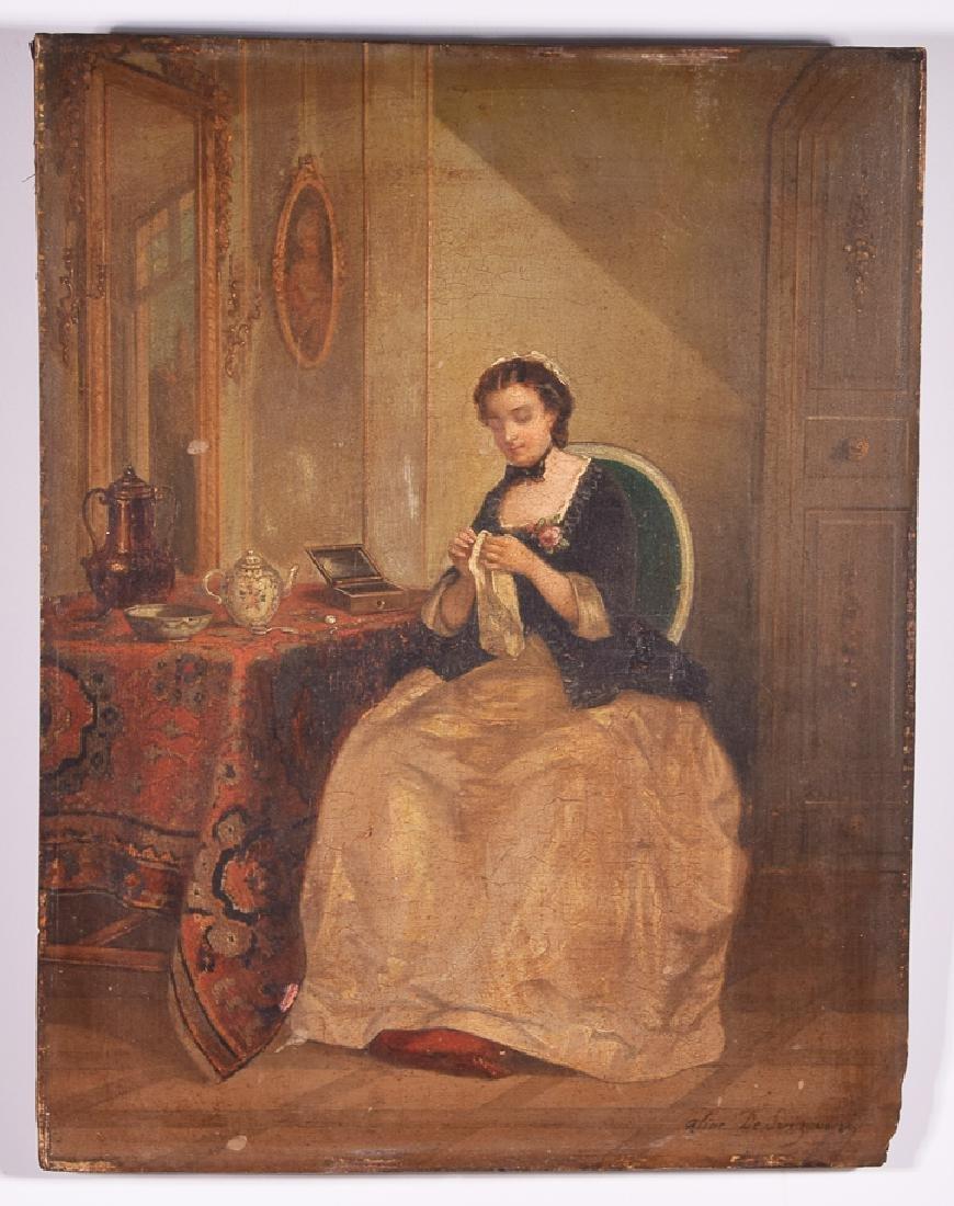 Aline Senezcourt (19th c.) signed oil on panel