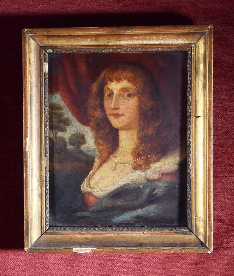 Vintage Old Master oil on panel of a beautiful lady