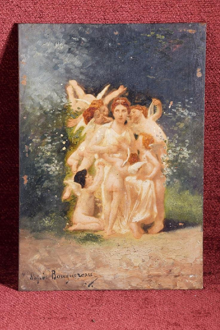 Vintage oil on panel Bouguereau school