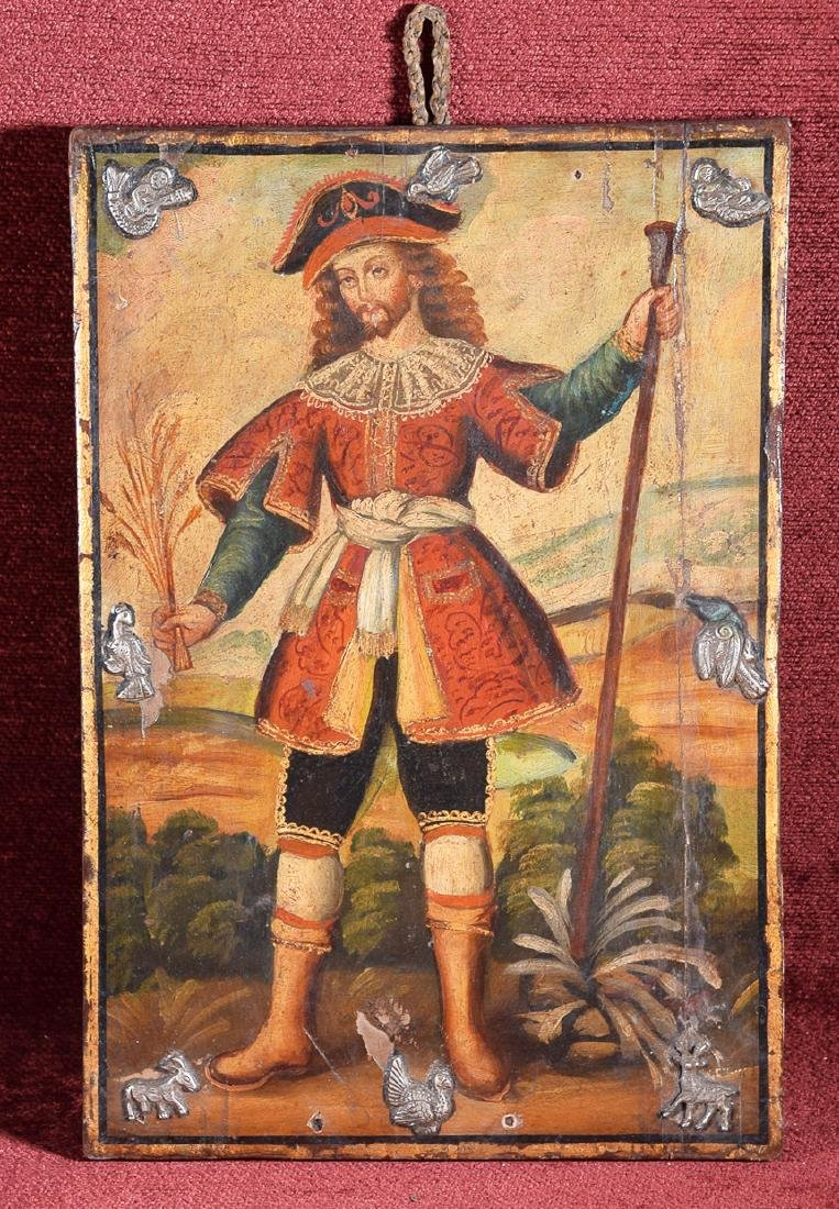 Antique Cuzco school religious oil on panel of a pirate