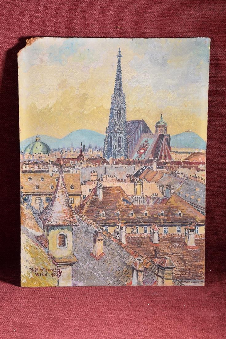 V. Missinwetz vintage 1947 oil on cardboard