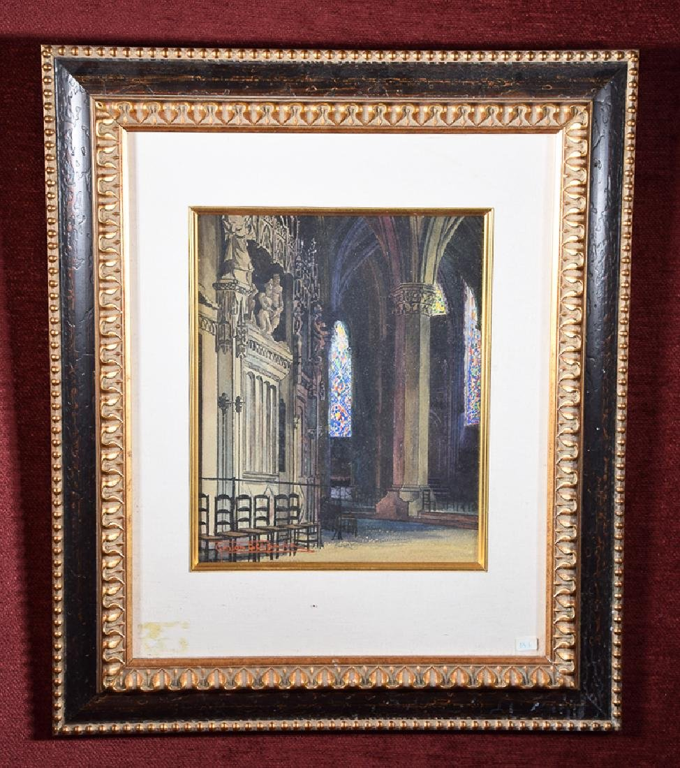 Gaston Delpard (19/20th c.) vintage watercolor stained