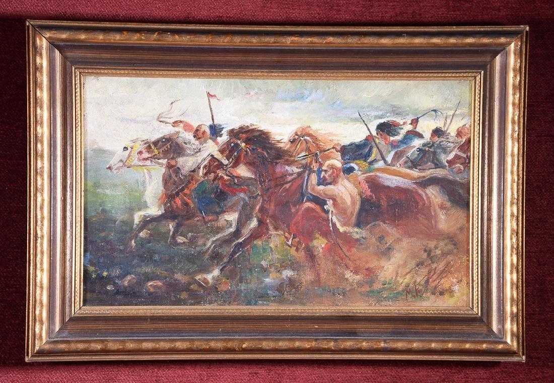 Vintage 'MF' Monogram oil on canvas Ridding Into Battle