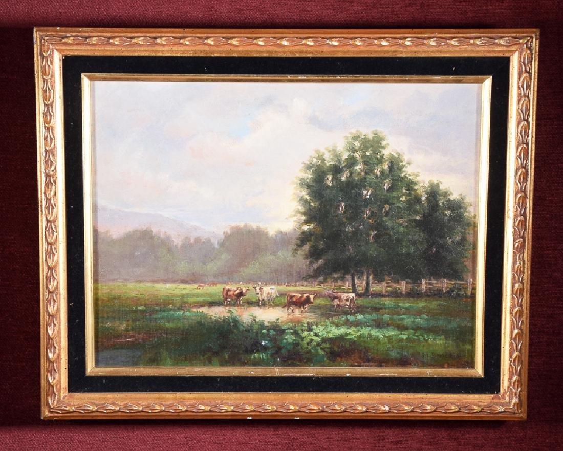 S. L. Banedict - Vintage oil on canvas cattle