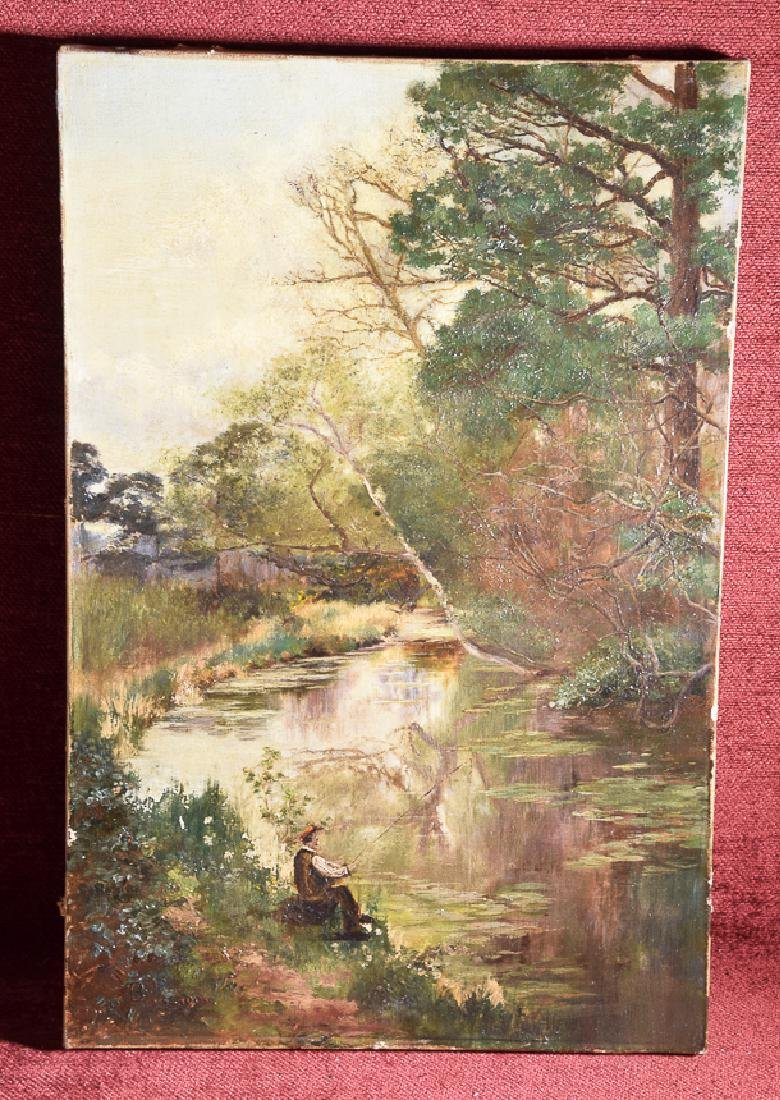 Antique oil on canvas 'B. 1903' monogram fishing