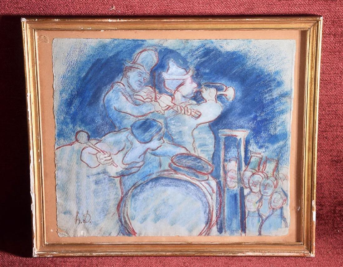 Honore Daumier (1808 - 1879) vintage pastel musicians