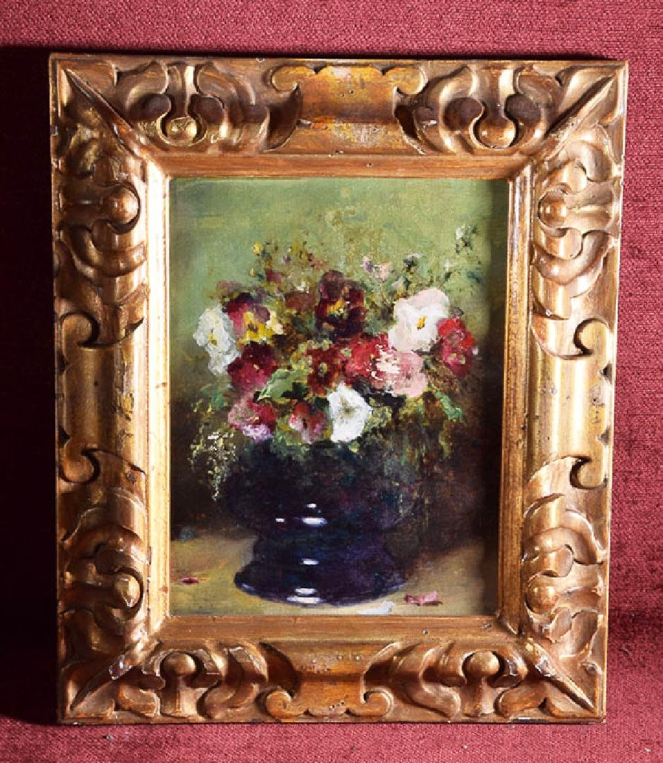 Antique oil on canvas flowers on vase russian
