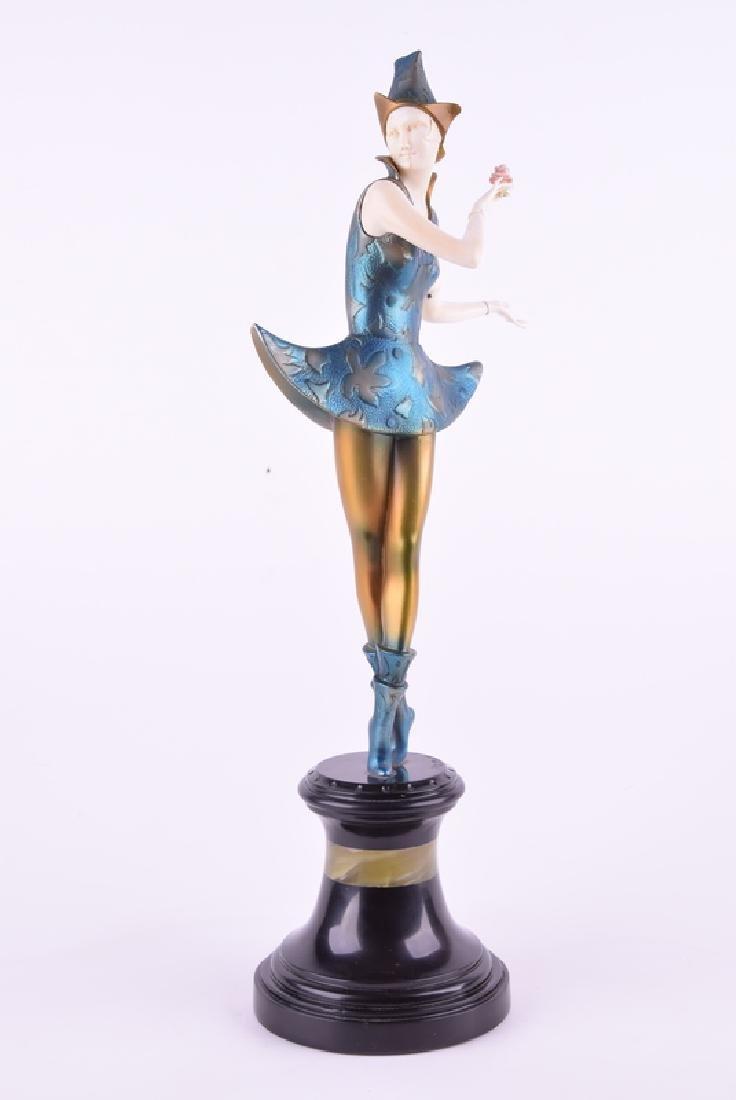 Paul PHILIPPE vintage bronze figure rose harlequin