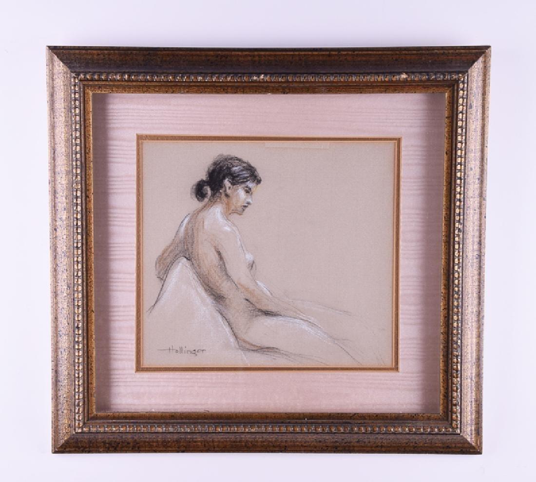 Hollinger signed vintage pastel woman nude
