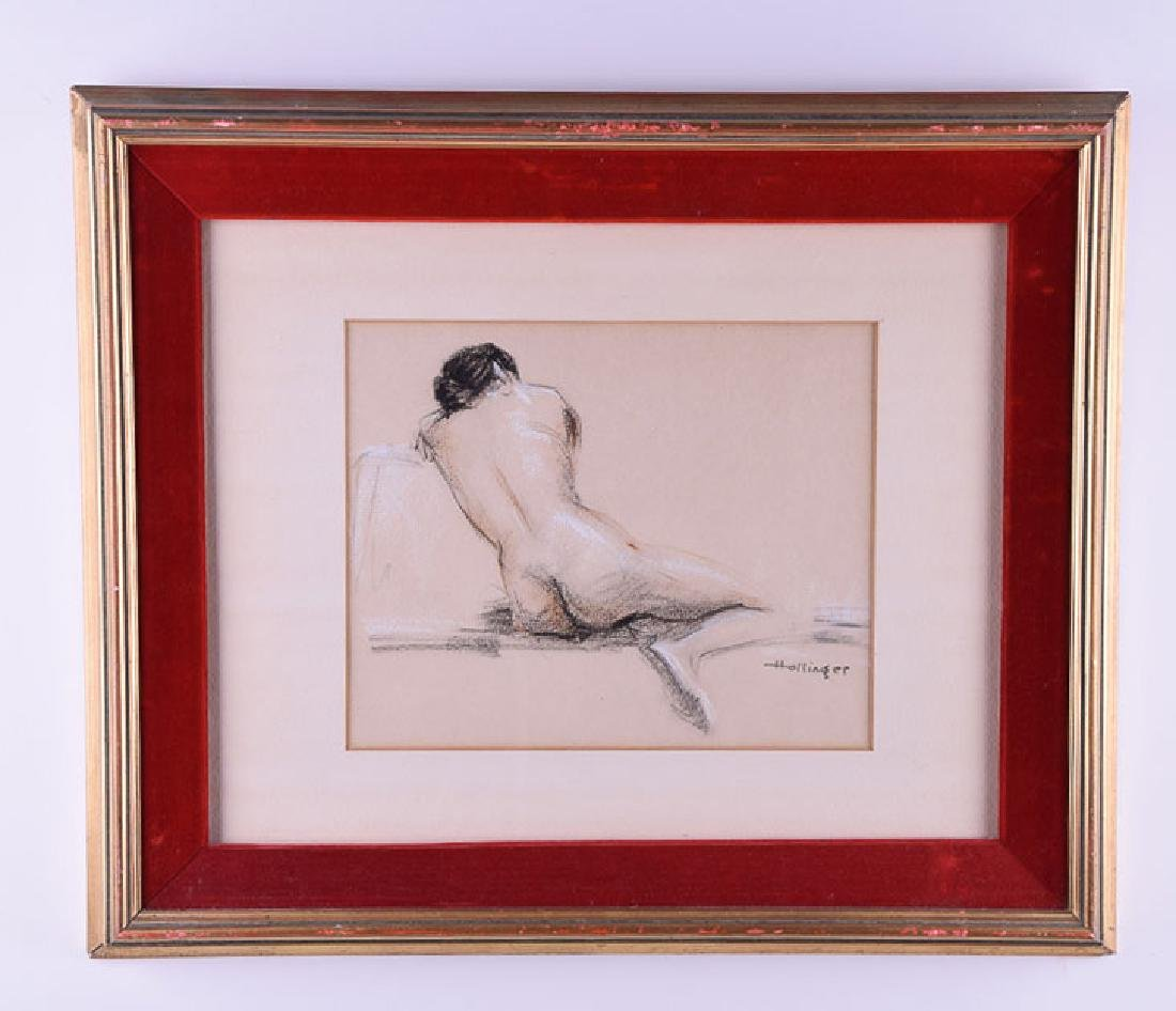 Hollinger signed vintage pastel woman nude II
