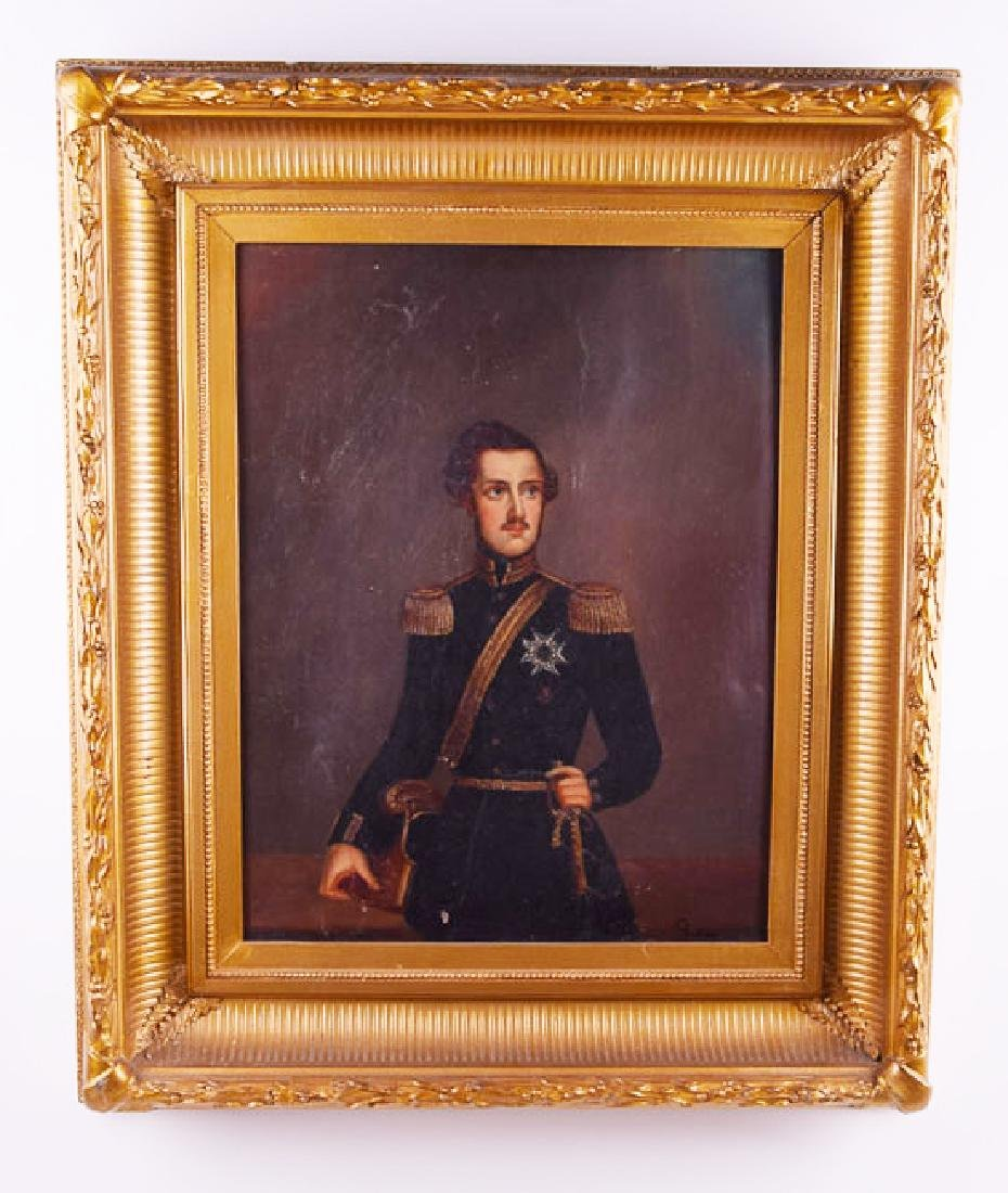 Vintage oil on canvas officer monogram