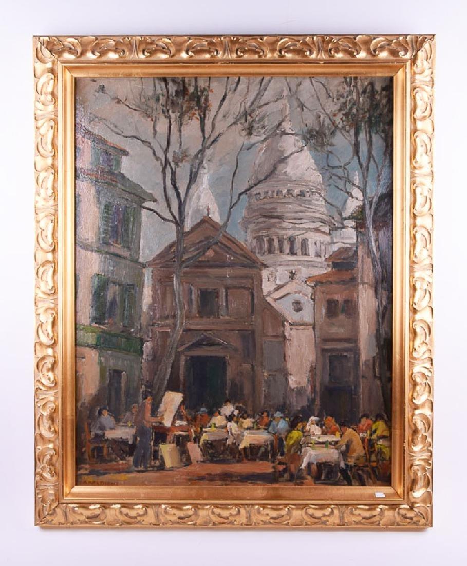 A. Martignone vintage oil on panel Mont Matre Paris