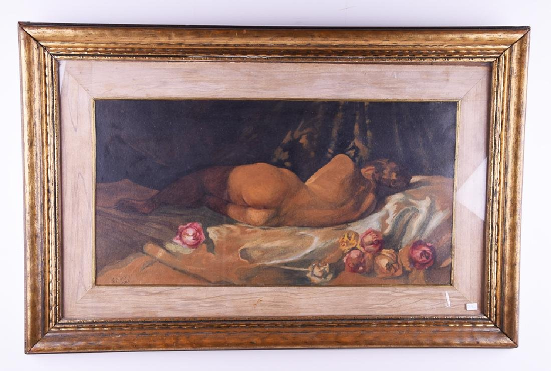 A. Oinstein signed vintage watercolor nude