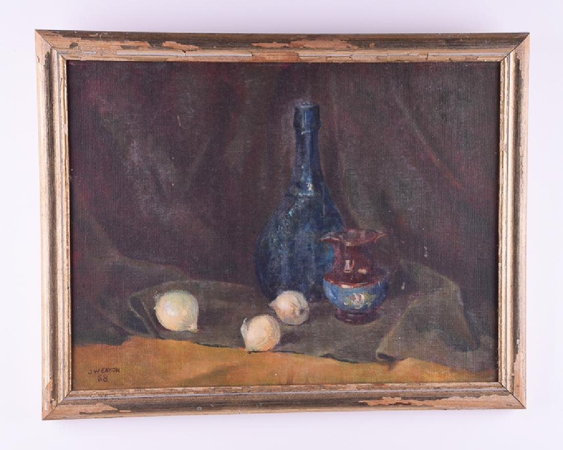 J W EATON 68 signed rare oil on canvas still life
