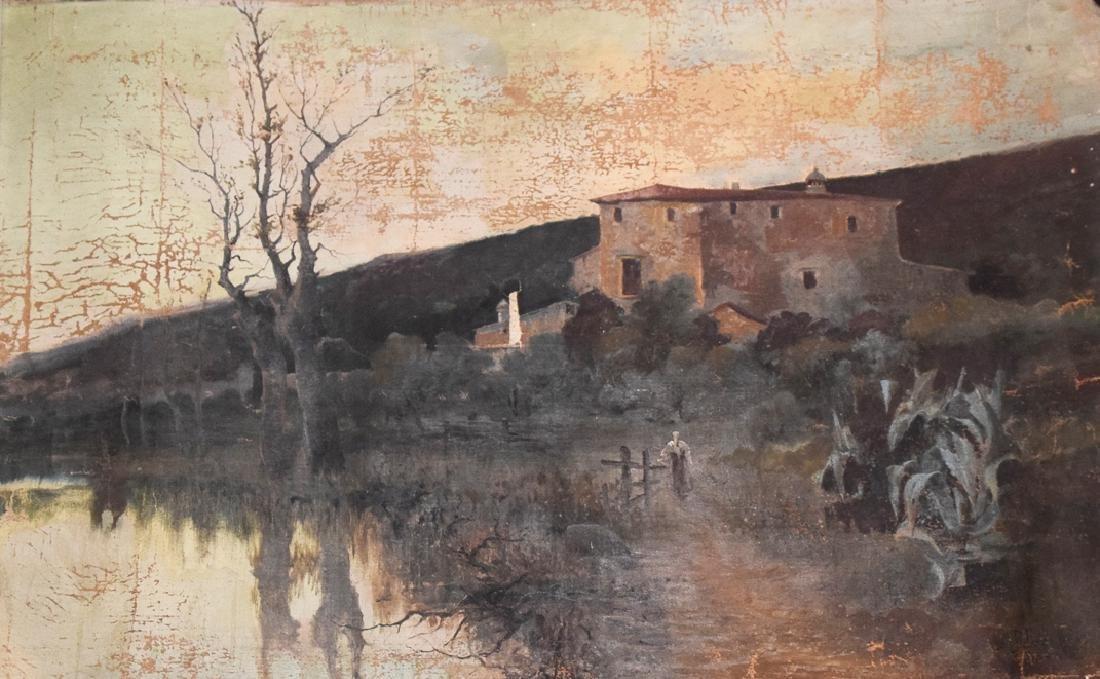 Signed oil on canvas rolled up landscape