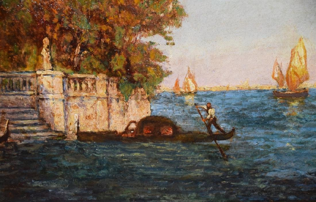 Attrib. vintage oil on panel Venetian Harbor