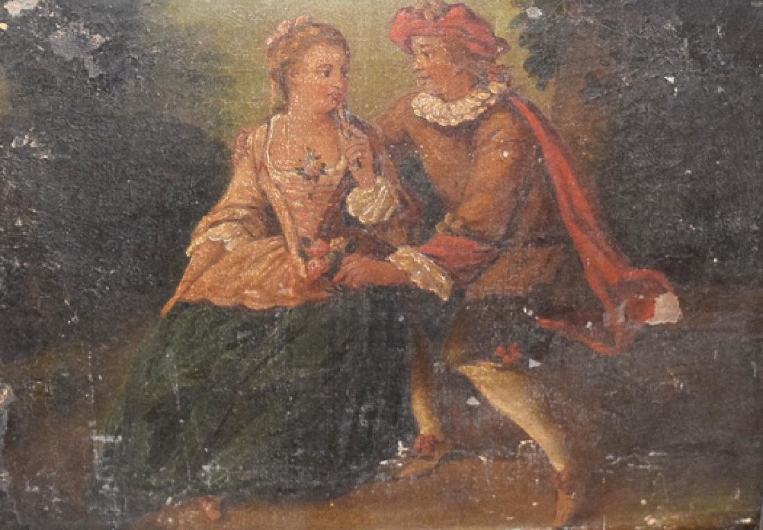 Romantic scene oil on canvas and panel unknown