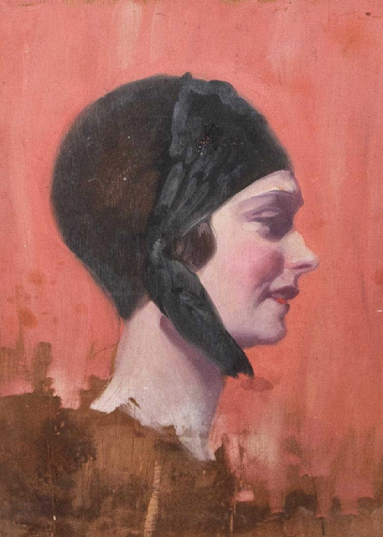 Art Deco Lady oil on panel