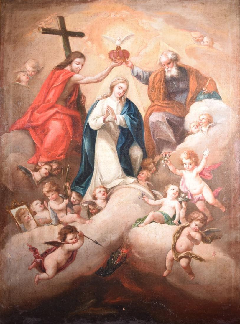 Unknonw XVIII oil on canvas Virgin Coronation