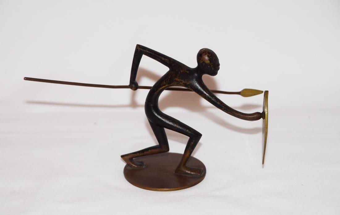 Hagenauer bronze African warrior with dagger sculpture