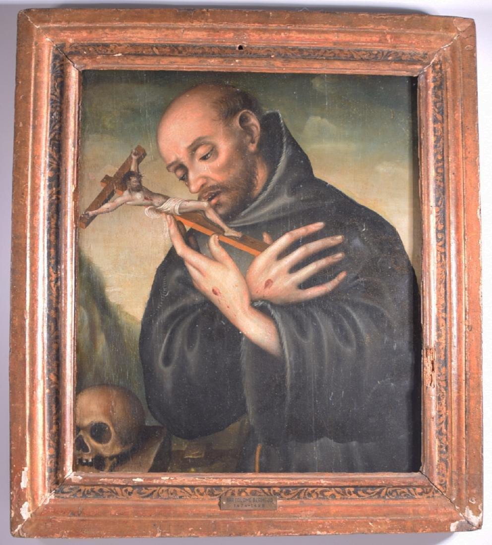 Bartolome Bermejo Priest Bearing the Stigmata Skull oil