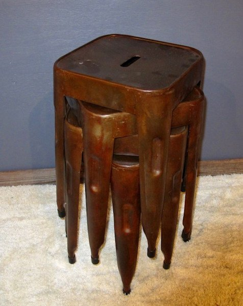 """3. Set of Four Metal """"Factory"""" Stack Stools"""