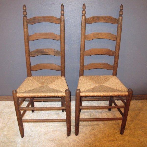 8. 2 Rush Bottom Ladder Back Chairs