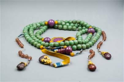 CHINESE QING DYNASTY JADEITE COURT BEADS