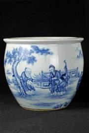 A FINE CHINESE BLUE AND WHITE FISH BOWL, WANG BU