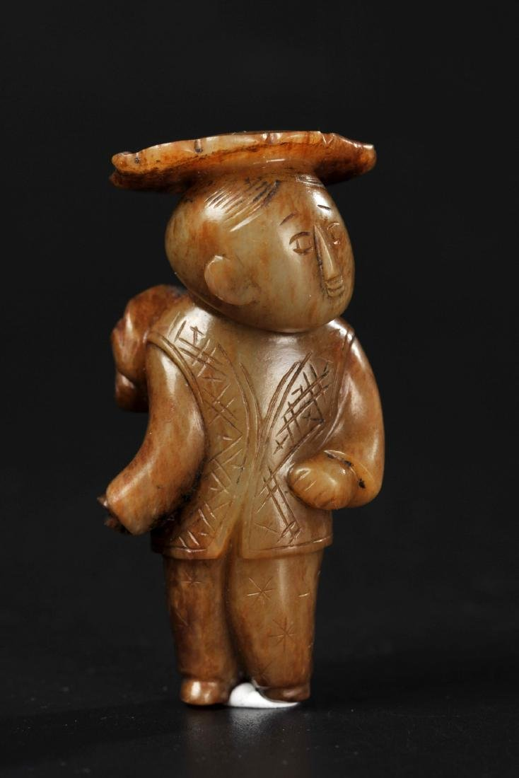 CHINESE SONG DYNASTY JADE CARVED BOY WITH LOTUS