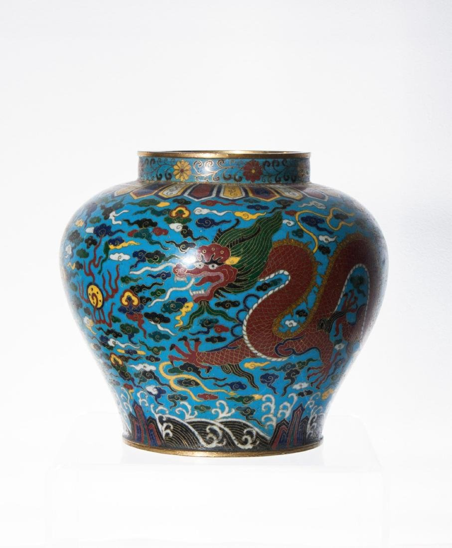 CHINESE CLOSIONNE JAR WITH MARK