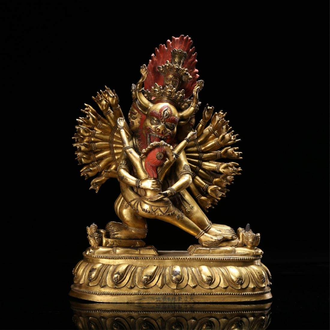 SINO TIBETAN GILT BRONZE FIGURE OF YAMANTAKA
