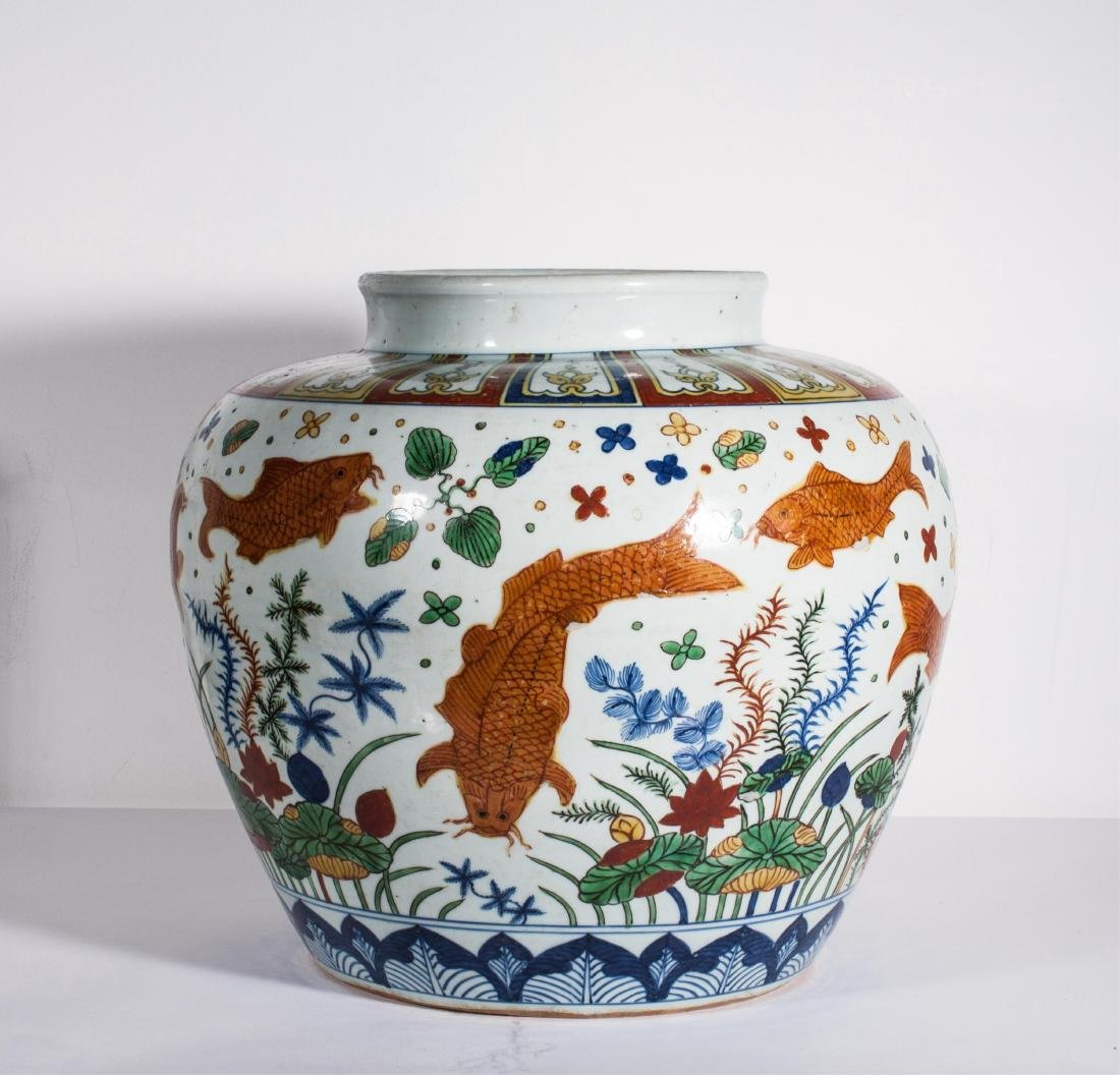 "LARGE CHINESE MING DYNASTY WUCAI ""FISH"" JAR"