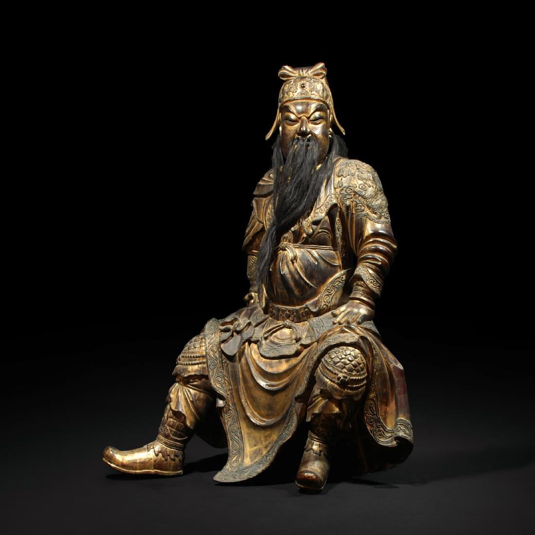 LARGE CHINESE BRONZE FIGURE OF GUANDI