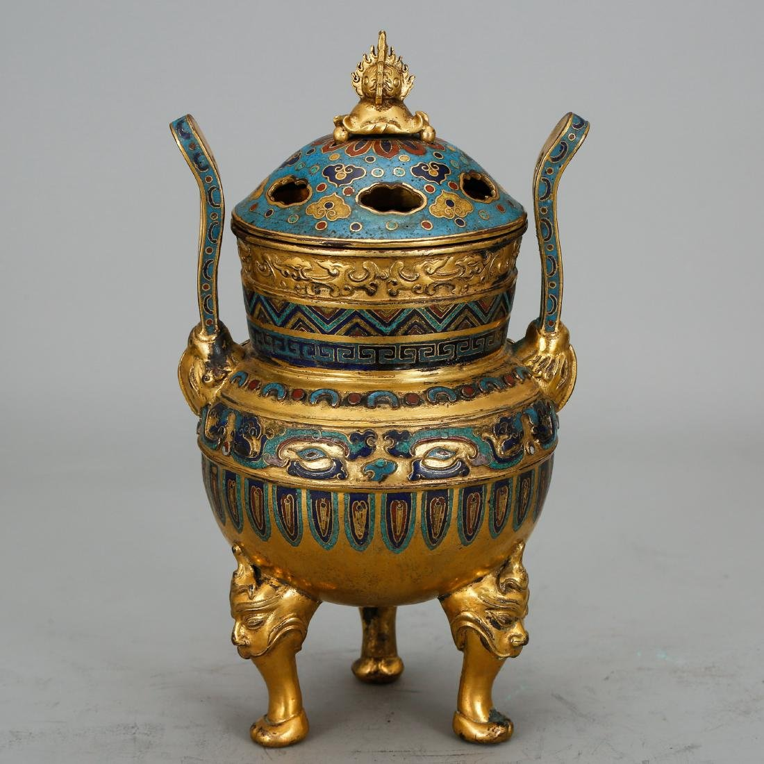 CHINESE CLOISONNE TRIPOD COVER CENSER