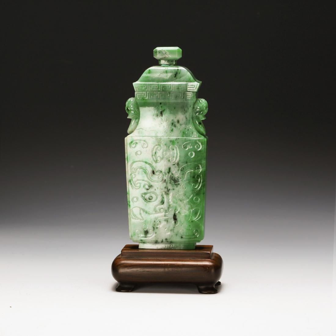 CHINESE SPINACH JADE COVER JAR