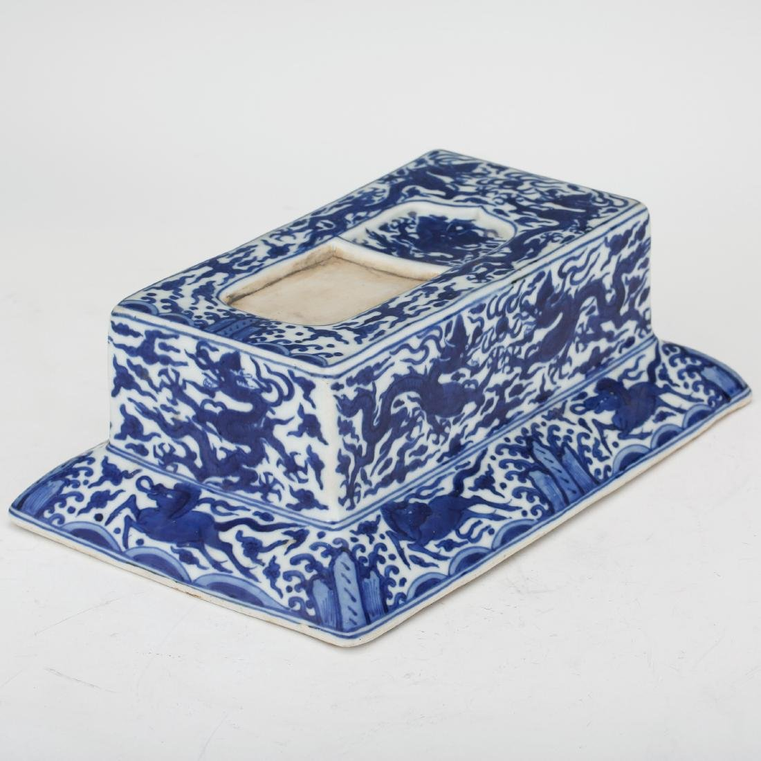CHINESE BLUE AND WHITE PORCELAIN INK PALETTE