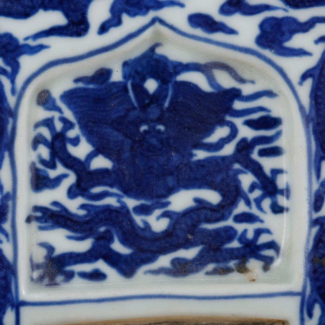 CHINESE BLUE AND WHITE PORCELAIN INK PALETTE - 4