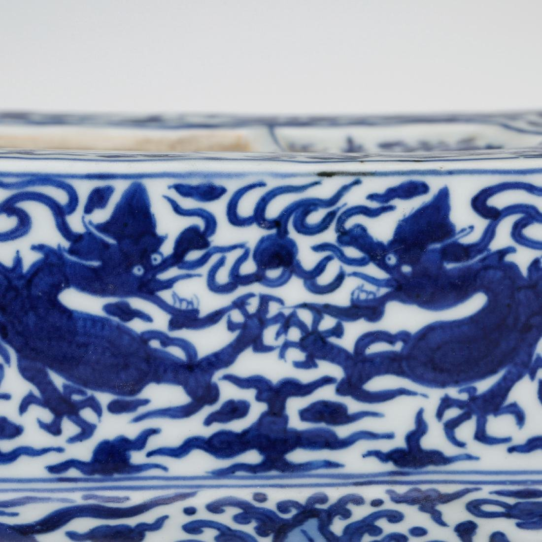 CHINESE BLUE AND WHITE PORCELAIN INK PALETTE - 6