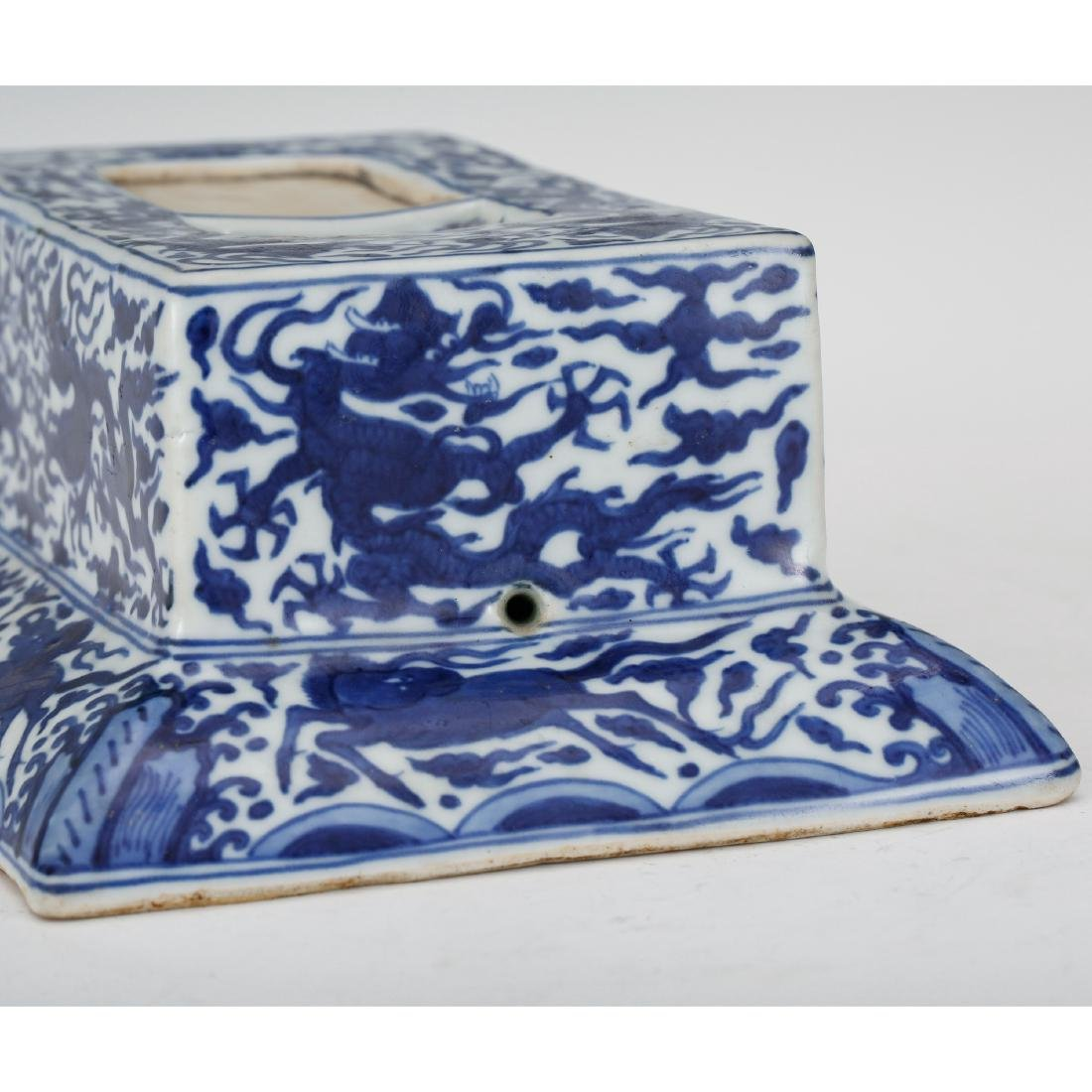 CHINESE BLUE AND WHITE PORCELAIN INK PALETTE - 7