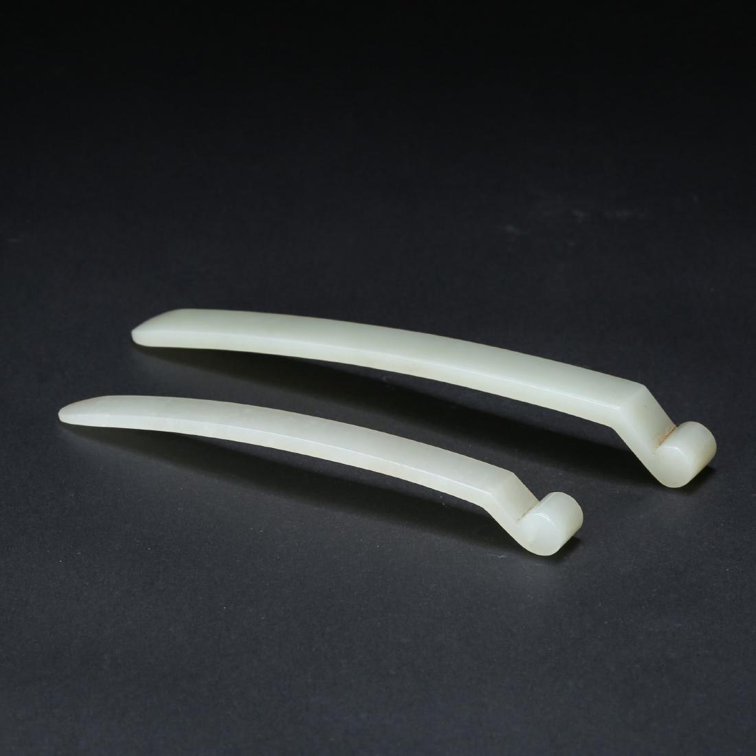 TWO CHINESE WHITE JADE HAIR PINS