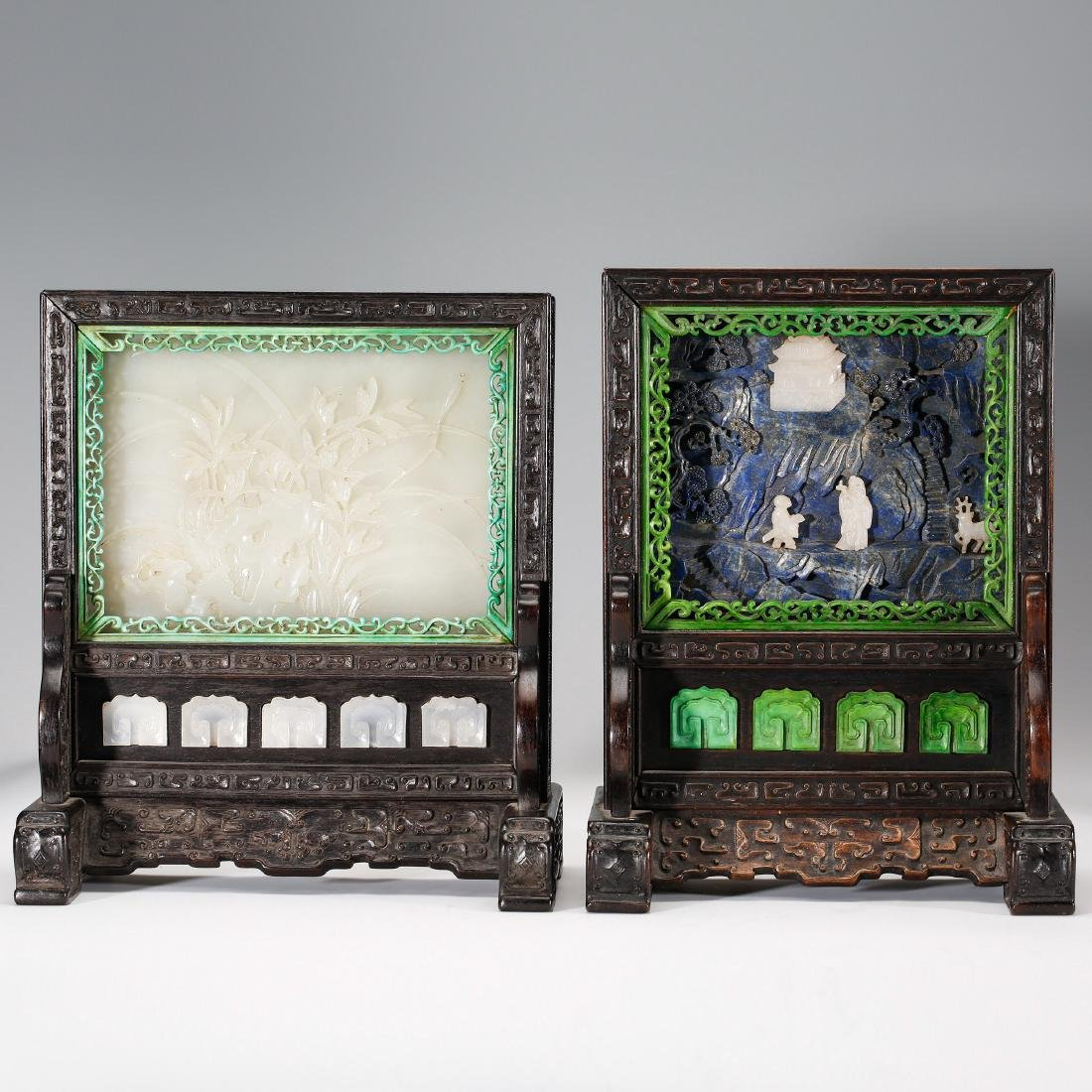TWO CHINESE JADE AND LAPIS TABLE SCREEN