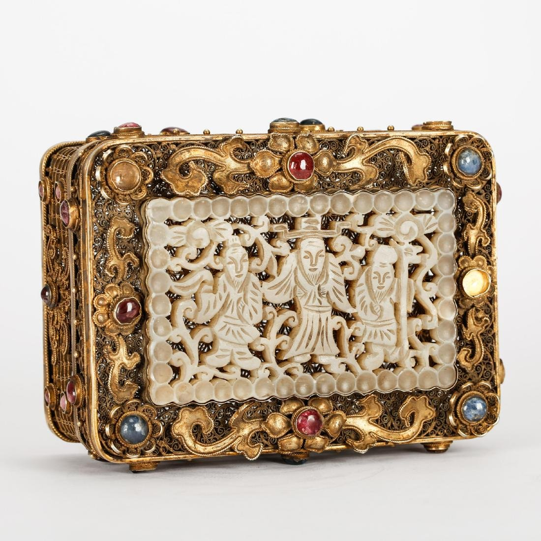 CHINESE GILT SILVER WIRE JEWELRY BOX WITH JADE