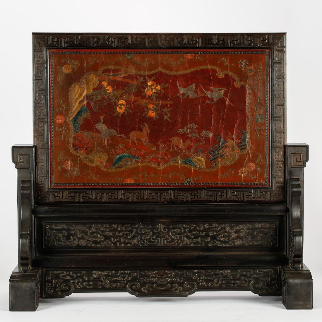 CHINESE LACQUER WOOD ZITAN TABLE SCREEN