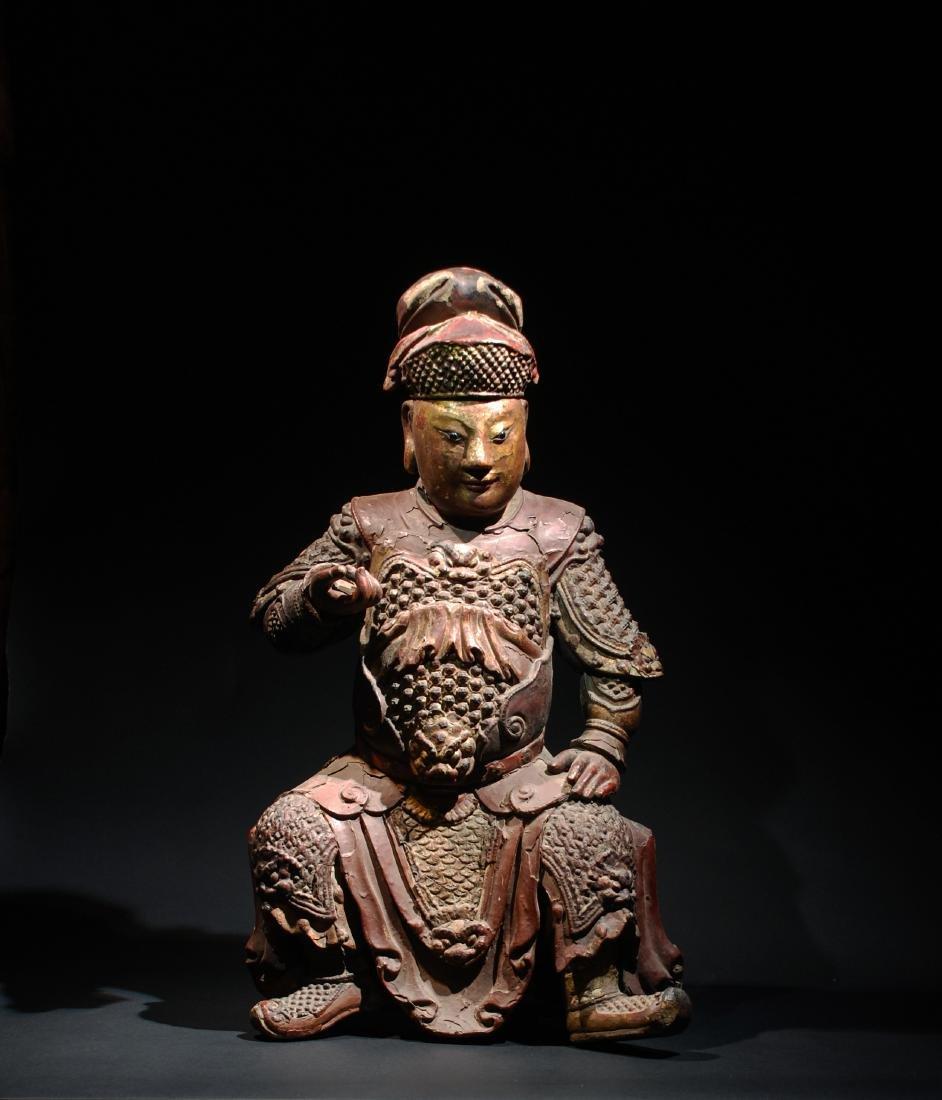 CHINESE MING DYNASTY POLYCHROME WOOD FIGURE