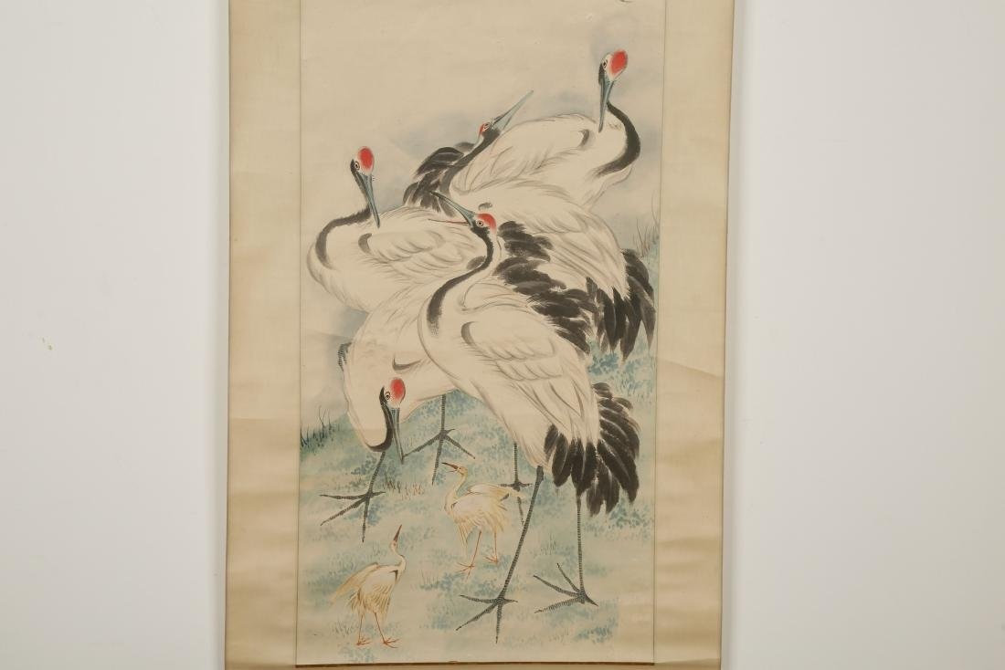 CHINESE SCROLL PAINTING OF CRANES - 3