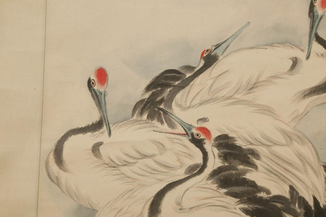 CHINESE SCROLL PAINTING OF CRANES - 4