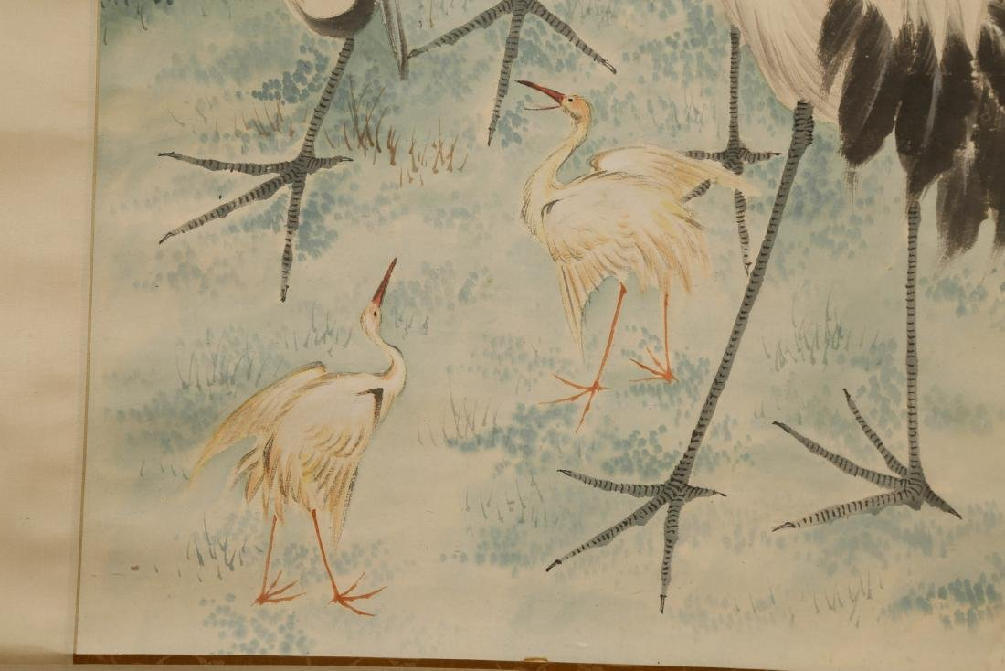 CHINESE SCROLL PAINTING OF CRANES - 5