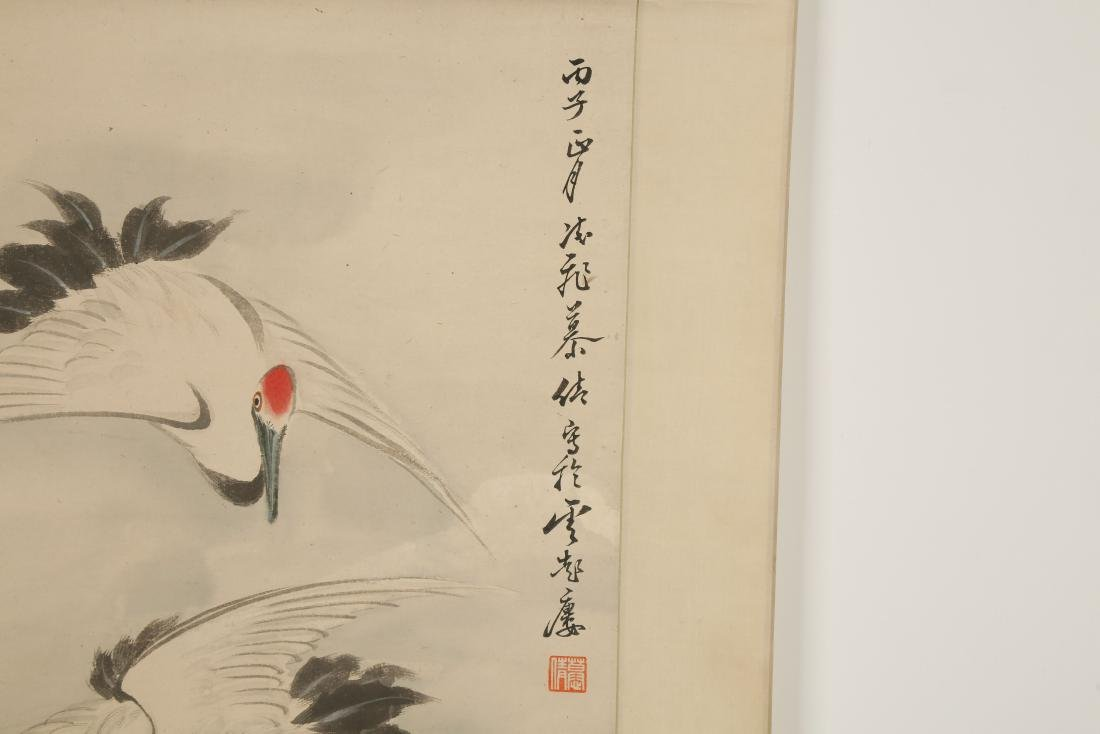 CHINESE SCROLL PAINTING OF CRANES - 6
